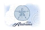 Mobile  Alabama - Sand Dollar - Blue - Coastal Icon