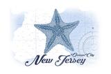 Ocean City  New Jersey - Starfish - Blue - Coastal Icon