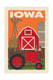 Iowa - Country - Woodblock