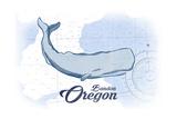 Bandon  Oregon - Whale - Blue - Coastal Icon