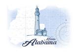 Mobile  Alabama - Lighthouse - Blue - Coastal Icon
