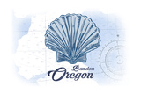 Bandon  Oregon - Scallop Shell - Blue - Coastal Icon