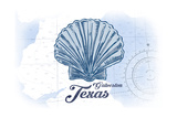 Galveston  Texas - Scallop Shell - Blue - Coastal Icon