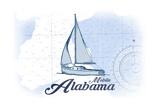 Mobile  Alabama - Sailboat - Blue - Coastal Icon