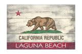 Laguna Beach  California - California State Flag - Barnwood Painting