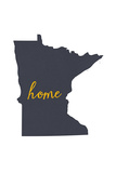 Minnesota - Home State - Gray on White