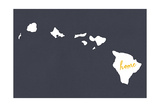Hawaii - Home State - White on Gray