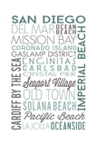 San Diego  California - Green Typography