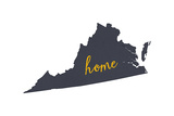 Virginia - Home State - Gray on White
