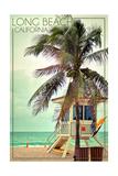 Long Beach  California - Lifeguard Shack and Palm