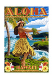Hawaii - Aloha - Hula Girl on Coast (Flower Border)