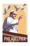Philadelphia  Pennsylvania - Pope and Doves - Lithography Style