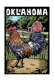 Oklahoma - Scratchboard - Rooster