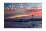 Santa Cruz  California - Lighthouse at Sunset
