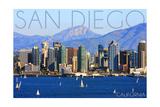 San Diego  California - Mountains and Sailboats
