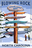 Blowing Rock  North Carolina - Ski Signpost