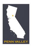 Penn Valley  California - Home State - White on Gray
