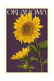 Oklahoma - Sunflowers - Letterpress