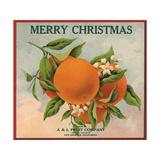 Merry Christmas Orange Branch - Los Angeles  California - Citrus Crate Label