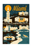 Miami  Florida - Retro Skyline