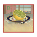 Grapefruit on Plate - Citrus Crate Label
