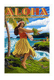 Aloha - Hawaii Hula Girl on Coast