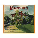 Mansion Brand - Piru  California - Citrus Crate Label