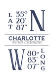 Charlotte  North Carolina - Latitude and Longitude (Blue)