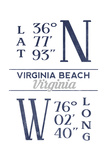 Virginia Beach  Virginia - Latitude and Longitude (Blue)