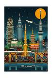 Tokyo  Japan - Retro Skyline (no text)