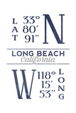 Long Beach  California - Latitude and Longitude (Blue)