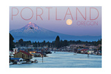 Portland  Oregon - Mt Hood with Purple Sky and Water