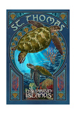 St Thomas  US Virgin Islands - Sea Turtle Art Nouveau