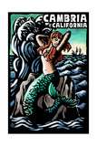 Cambria  California - Mermaid - Scratchboard