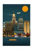 Baltimore  Maryland - Retro Skyline (no text)