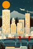 Portland  Oregon - Retro Skyline (no text)