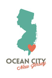 Ocean City  New Jersey - State Outline and Heart