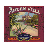 Arden Villa Brand - Villa Park  California - Citrus Crate Label