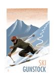 Ski Gunstock - Downhill Skier Lithography Style