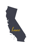 California - Home State - Gray on White