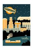 Akron  Ohio - Retro Skyline (no text)