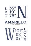 Amarillo  Texas - Latitude and Longitude (Blue)