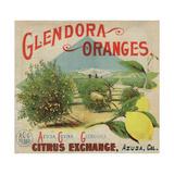 Glendora Oranges Brand - Azusa  California - Citrus Crate Label