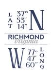 Richmond  Virginia - Latitude and Longitude (Blue)