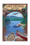 Lake George  New York - Canoe Scene