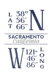 Sacramento  California - Latitude and Longitude (Blue)