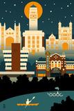 Ann Arbor  Michigan - Retro Skyline (no text)