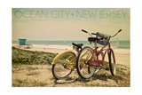 Ocean City  New Jersey - Bicycles and Beach Scene