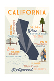 Los Angeles  California - Typography and Icons