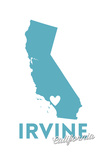 Irvine  California - State Outline and Heart